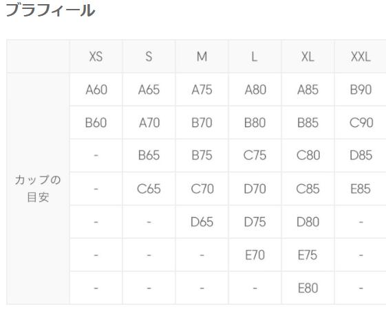 GUブラフィールサイズ表
