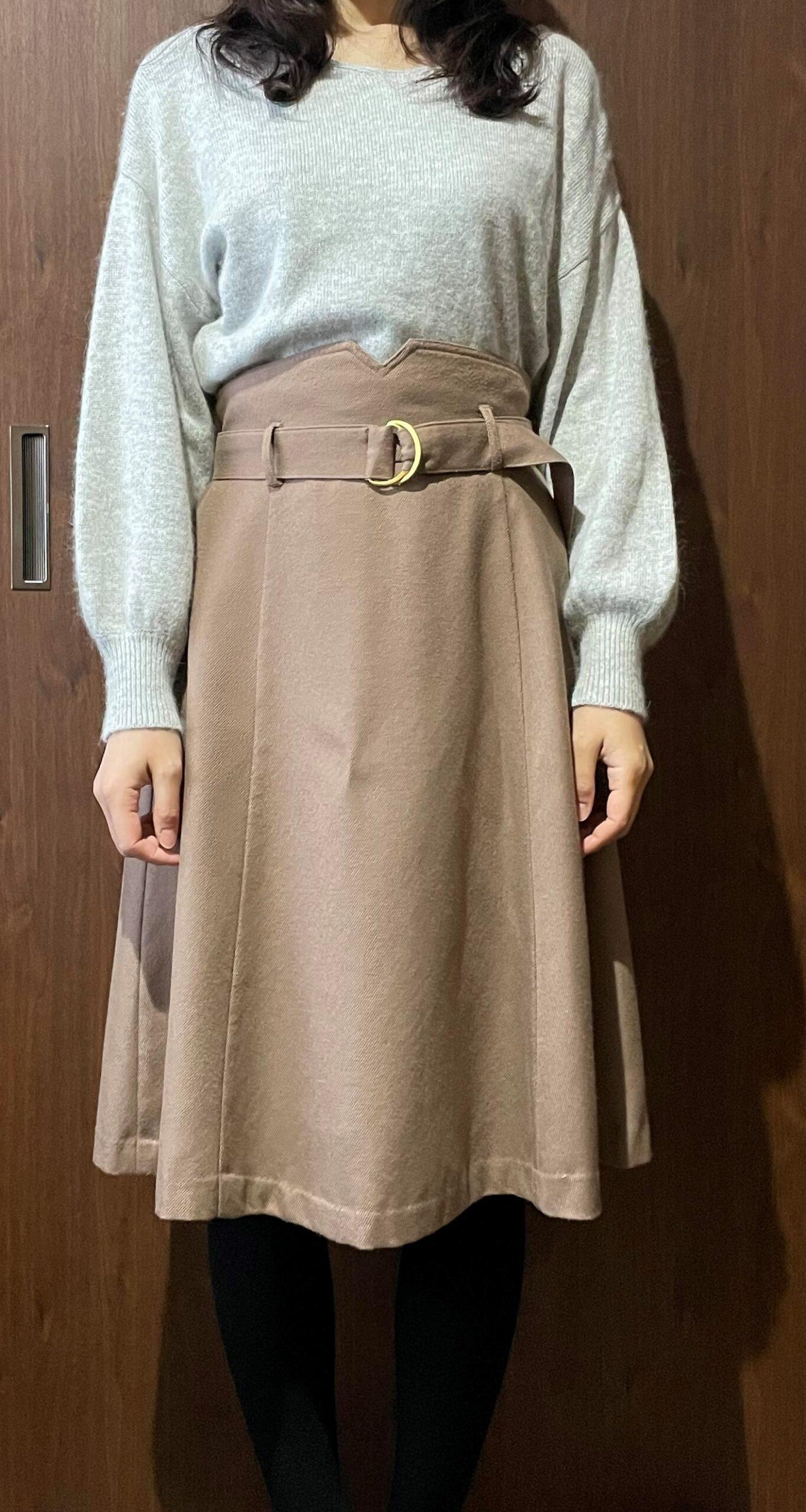 グレー×ベージュスカート