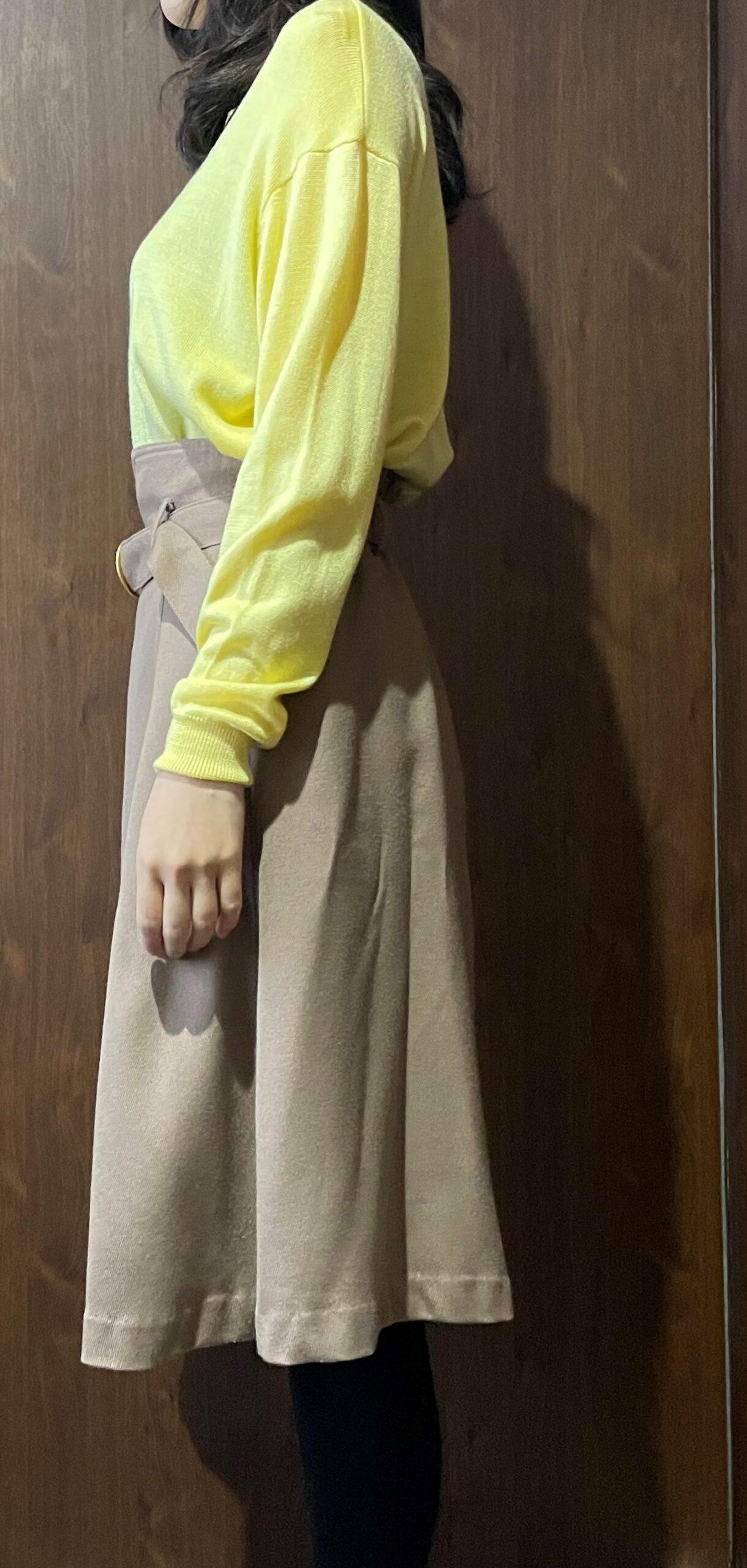 黄色×ベージュスカート 横
