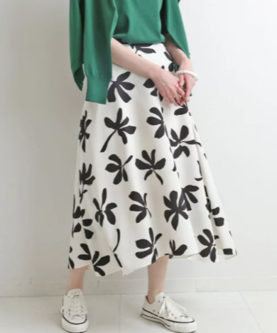 大人気!一枚あるとテンション上がるアートプリントフレアスカート