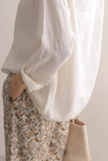 女性|清涼感のあるリネンで、女性らしいシルエットが特徴的なリネンバックタックプルオーバー1