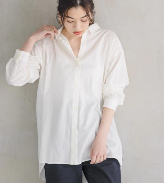 白シャツ②しわになりにくい・お尻がすっぽり隠れて便利な1枚